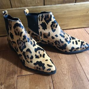 Leopard haircalf booties
